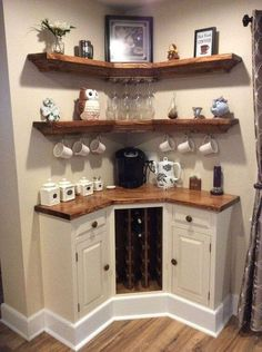 Here are 30 brilliant coffee station ideas for creating a little coffee corner that will help you decorate your home. See more ideas about Coffee corner kitchen, Home coffee bars and Kitchen bar decor, Rustic Coffee Bar. Diy Home Decor, Room Decor, Wall Decor, Diy Home Bar, Sweet Home, Home Coffee Stations, In Home Coffee Bar, Coffe Bar In Kitchen, Kitchen With Bar Counter