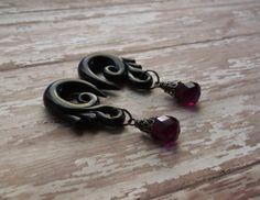 Plum Tear Drop Gauged Earrings by TheCreatorsCreations on Etsy, $34.00