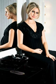 8706b4489e0 Indulgence Collection by MamaMoosh - Maternity and Breastfeeding Pyjamas in  Black Nursing Nightwear