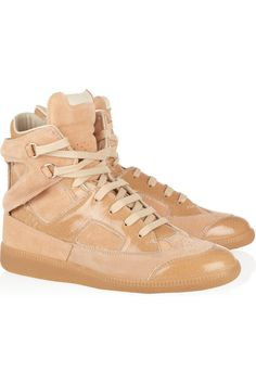 Maison Martin Margiela | Suede and glazed-leather high-top sneakers | NET-A-PORTER.COM