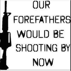 Our forefathers would be shooting by now...