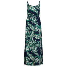 Navy, Teal & Khaki Palm Print Maxi Dress