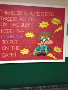"Maybe update for growth mindset bulletin board. ""There is a superhero inside all of us. Superhero Classroom Door, Superhero School Theme, Superhero Bulletin Boards, Counseling Bulletin Boards, Classroom Bulletin Boards, School Themes, Classroom Themes, School Classroom, School Fun"