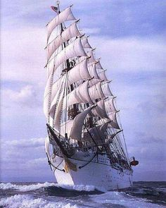 """Four-masted barque """"Nippon Maru"""", japanese sail training ship. The second under the name, she was built in 1984 to replace a 1930 vessel. She's the sister ship of """"Kaiwo Maru"""". Tall Ships, Bateau Pirate, Old Sailing Ships, Full Sail, Whitewater Kayaking, Canoe Trip, Yacht Boat, Sail Away, Submarines"""