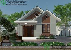Biệt thự 1 tầng tại Hà Tĩnh NDBT1T30 Simple House Design, House Front Design, Roof Design, Modern House Design, One Bedroom House, Affordable House Plans, House Construction Plan, Bungalow House Design, Street House