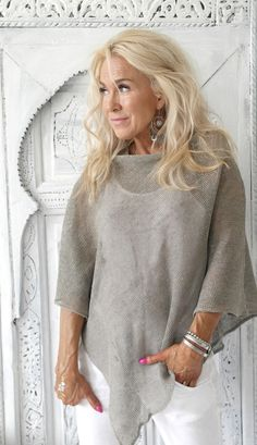 BYPIAS Knitted linen Poncho www.bypias.com