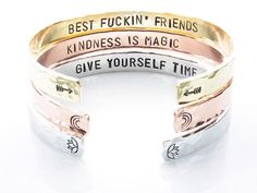 """Secret Message Cuff / Personalized Bracelet / Customizable Stamped Quote / Inspirational Mantra Band Bracelet / Sterling Silver Stamped Hand stamped, one character at a time, our Secret Message cuffs are hand formed with a hammered finish with your stamping request on the inside, where only you can see it ;) We have four choices for metals: aluminum (will not tarnish), brass, copper, and sterling silver. We offer small (6"""") and regular (7"""") circumference sizes as wellWe can stamp about 40 charac Stamped Jewelry, Metal Jewelry, Jewelry Stamping, Bracelet Quotes, Band Quotes, Metal Stamping, Sterling Silver Bracelets, Hand Stamped, Bling"""