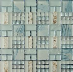 [Hot Item] Mat Hand Paint Glass Mix Sea Shell and Ice Crack Glass Mosaic Tile Beach Cottage Style, Beach House Decor, Glass Mosaic Tiles, Wall Tiles, Backsplash Tile, Tiling, Interior Exterior, Home Interior, Apartment Therapy