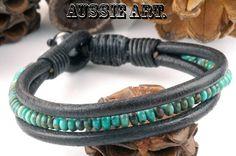 Turquoise,Hematite Stones & Leather Bangle Wristband Men Bracelet.