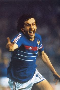 Michel Platini- Nicknamed Le Roi (The King) for his ability and leadership, he is regarded as one of the greatest footballers of all time. Platini won the Ballon d'Or three times, in 1984 and and came sixth in the FIFA Player of Century Best Football Players, Football Stadiums, Football Kits, Football Match, Sport Football, Soccer Players, Michel Platini, France Football, World Football