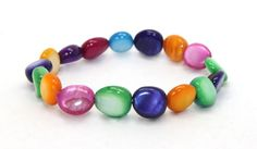 Beautiful Multi Pink, Green, Purple, Yellow, Orange and Blue Mother of Pearl Stretch Bangle Bracelet | AyaDesigns - Jewelry on ArtFire