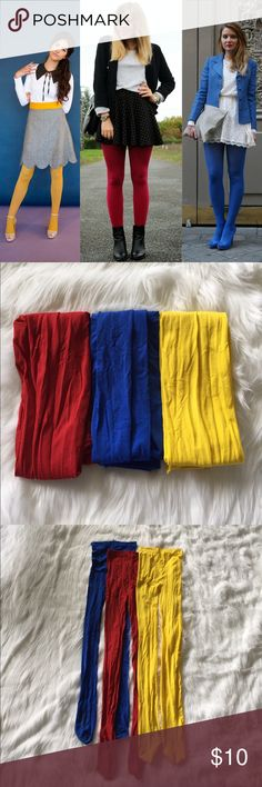 """🎒 Primary Colored Opaque Tights Blue tights, yellow tights and Red tights! All very opaque and not sheer. One size fits most! 29"""" from crotch to toe- can stretch for long legs and fit almost the shortest legs. These could fit a size xs-xl. Worn once each time- I could like to keep these (there are SO many cute Pinterest ideas!) but they are often forgot about in my hosiery. Just a little wrinkly from storage. ALLOY Accessories Hosiery & Socks"""
