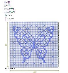 Filet crochet butterfly pattern by VCC Filet Crochet Charts, Crochet Cross, Knitting Charts, Thread Crochet, Crochet Stitches, Knitting Patterns, Crochet Patterns, Crochet Butterfly Pattern, Butterfly Cross Stitch