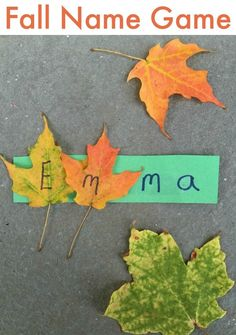 Fall leaves name tag! (includes a nature walk!) Name activity perfect for fall! Preschool Names, Fall Preschool Activities, Preschool Literacy, Classroom Activities, Preschool Crafts, Toddler Activities, Preschool Fall Theme, Preschool Plans, Preschool Centers