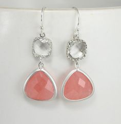 Coral Dangle Earrings Coral Jewelry Crystal by LadyKJewelry