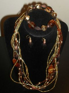 3 Piece Brown & Gold Jewelry Set Necklace, bracelet, pierced earrings #ShesGifted