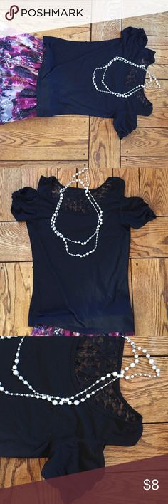 Black Fitted Cold Shoulder Shirt Lace inset at back neck. Open cold shoulder. Lightly worn. Sexy and cute. Size small. I do bundles. Derek Heart Tops Blouses