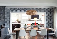Blue and White Modern Dining Room