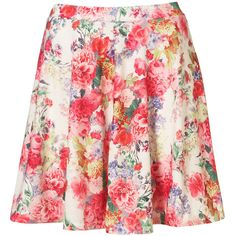Floral Printed Skater Skirt ($15) ❤ liked on Polyvore featuring skirts, bottoms, floral, saias, circle skirt, skater skirt, red floral skirt, flower print skirt and red flared skirt