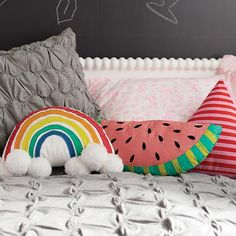 Whimsical Throw Pillows from The Land of Nod - so adorable in the nursery or kids room!