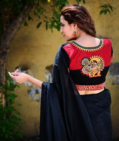 red & black back side peacock design blouse Garra, Saree Painting Designs, New Blouse Designs, Bollywood, Designer Blouse Patterns, Beautiful Blouses, Indian Designer Wear, Casual, Photos