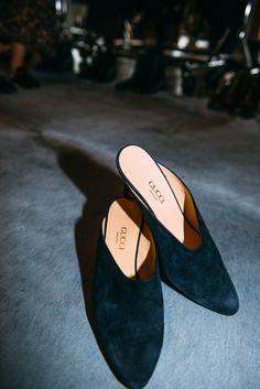The Best Vintage Pieces Spotted at A Current Affair: Gucci black suede mules | coveteur.com