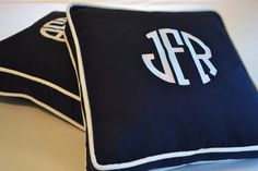 Navy Blue and White box pillows with monogram