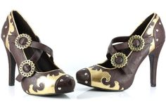Steampunk Purple & Gold Shoes for women with double buckle detail.  www.plus.google.com