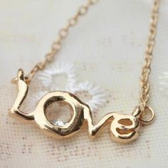 Diamond on LOVE letter Necklace Letter Necklace, Gold Necklace, Rose Gold Pendant, Discount Jewelry, Love Letters, Lettering, Diamond, Silver, Shopping