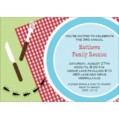 Family Reunion Invitations Picnic Plate PNI108