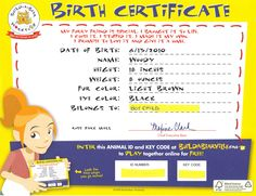 Build-a-Bear Birth Certificate