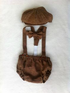 Newborn Baby Newsboy Set in Brown Linen by Four Tiny Cousins. Newsboy hat, bow tie, suspenders, and diaper cover hand crafted from all natural linen in mocha chocolate brown