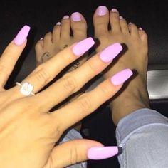baby pink nails, coffin nails, acrylic nails, nail designs nail inspiration, matching nails and toes Best Acrylic Nails, Acrylic Nail Designs, Baby Pink Nails Acrylic, Acrylic Nails Coffin Pink, Gorgeous Nails, Pretty Nails, Manicure E Pedicure, Pedicures, Mani Pedi