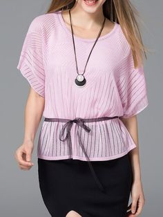 Shop Short Sleeved Tops - Pink Batwing Nylon Crew Neck Pierced Short Sleeved Top online. Discover unique designers fashion at StyleWe.com.