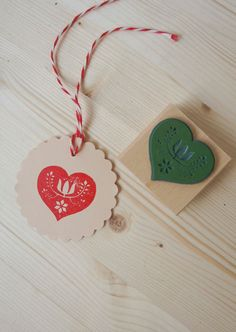 Ecofriendly rubber stamp Swedish Heart by MOZAIQ on Etsy, $16.50