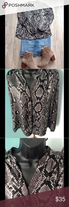 """Michael Kors Python Snake blouse Fall ready python print blouse by Michael Michael Kors. Long sleeves with covered from buttons.  19 1/2"""" across bust, 25"""" length.  100% polyester. MICHAEL Michael Kors Tops Blouses"""