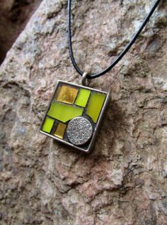 Yellow Mosaic Art Necklace Pendant by twinbrooks on Etsy, $25.00