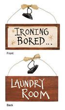 2 Sided LAUNDRY ROOM SIGN ~ IRONING BORED & LAUNDRY ROOM Rustic Iron Accent