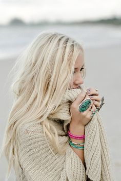 Winter Beach Style :-) Cozy knits and turquoise jewelry