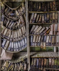 abandoned buildings of the Eastern bloc Sagging shelves with files on them - somewhere in the former Eastern Bloc. Photo by Christian Richter.Sagging shelves with files on them - somewhere in the former Eastern Bloc. Photo by Christian Richter. Abandoned Buildings, Abandoned Library, Abandoned Mansions, Old Buildings, Abandoned Places, Abandoned Castles, Derelict Places, Lost Places, Places In Europe