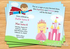 Superhero and Princess Birthday Party Invitation  Printable