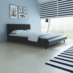 Leather Bed Frame Curved Design Artificial 140 x 200 cm Black