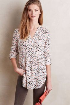 Anthropologie Calia Tunic by Maeve  Neutral Motif Dressy or Casual Size 10 #Anthropologie #Tunic #Dressy