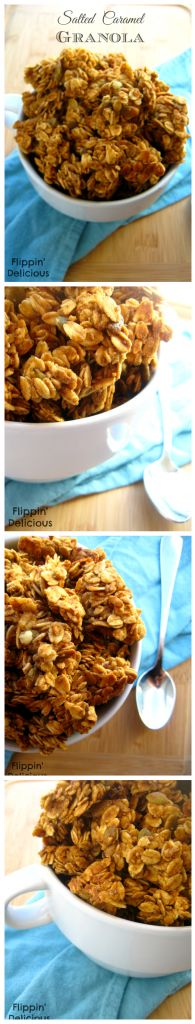 This #granola is sweet, crunchy, full of #caramel and just a hint of salt. Quick and easy to throw in the oven, your family will love it. Naturally #glutenfree too!