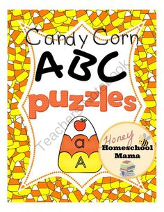 Candy Corn ABC Puzzles! A Fun Activity or File Folder Game! A Candy Corn Puzzle for Each Letter! from HoneyHomeschoolMama on TeachersNotebook.com -  (15 pages)  - These candy corn puzzles have 3 pieces. Each 3 piece puzzle features a capital letter, a lowercase letter, and a phonics based picture.