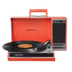 Still bemoaning the fact that your vinyl collection gathers dust in the basement while your iTunes list grows longer by the day? Bring those records into the digital age—or simply enjoy them as they were meant to be—with Crosley's Spinnerette turntable. This easy system allows you to spin and listen to records and convert them to digital files for playback on your computer. With its handsome features and retro look, this three-speed portable turntable harkens back to the golden days of vinyl.