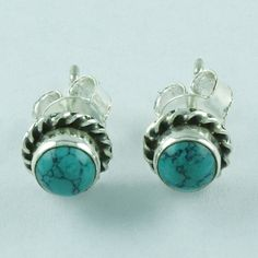 Exotic Design Real 925 Sterling Silver Turquoise Stone Studs Earring E3508 #SilvexImagesIndiaPvtLtd #Stud