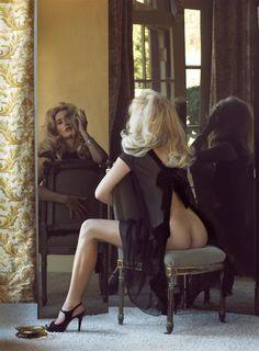 Kate Winslet photographed by Steven Meisel in 2008. black negligee heels mirror