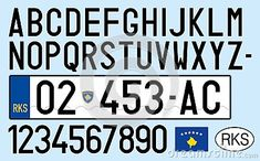 Kosovo, car plate with simbols and coat of arms, vector illustration