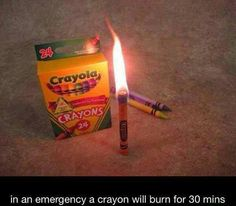 In an emergency a crayon will burn for 30 minutes, good to know.